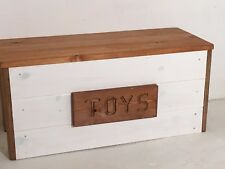 toy box personalised white and walnut storage chest