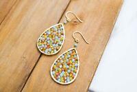 Panacea Multi-Color Teardrop Crystal Filled Drop Earrings, Multicolor, New $44