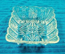 Vintage Heavy Crystal Glass 4-Footed Hobstar Candy/Nut/Serving Dish/Bowl