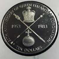 1983 BAHAMAS SILVER $10 CORONATION CROWN BRILLIANT UNCIRCULATED PROOF