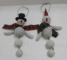 "WOOD SNOWMAN ORNAMENTS - CRACKLED LOOK - MOVABLE BODY - SET/2 -5 1/2""- 6 1/2"" L"