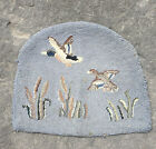 """1 Vtg Primitive Blue Hand Hooked Cabin Chair Pad * 2 Flying Duck Field  17"""""""