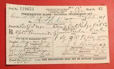 Vintage 1921 Prohibition Era Alcohol Prescription