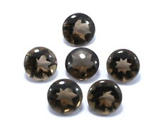 6 Piece Natural Smoky Quartz Gemstone 11mm Round Buff Top Faceted Cut Lot S49