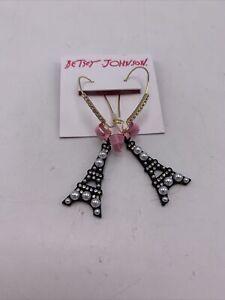 $38  Betsey Johnson Paris Eiffel Tower Dangle Earrings JB