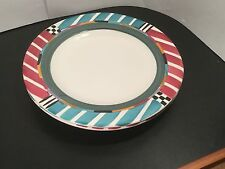 A Mallory - Alegre - Dinner Plates - TWO - 2 - Art Pottery - Hand Painted - Ann