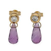 Castellano Jewels Pendientes Mujer Amatistas Circonitas y Oro de Ley 18K