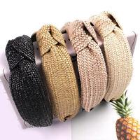 Women Weaving Straw Headband Bow Knot Cross Tie Velvet Headwrap Hair Band Hoop
