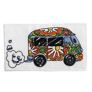 60's Hippie Flower Power VW Van Embroidered Iron-On Patch