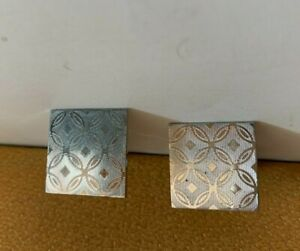 VINTAGE SWANK ETCHED GEOMETRIC SQUARE CUFF LINKS MARKED STERLING
