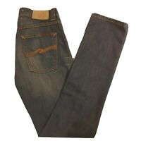 Men's Nudie Jeans Grim Tim Size 29 x 32 Light Rich Blue NJ2035 Button Fly -SF17