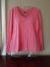 ESPRIT Women's L Pink Long  Sleeve 100% Cotton V-Neck Shirt
