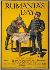 RUMANIA'S DAY. THE TWO FORCES British WW1 Propaganda Poster