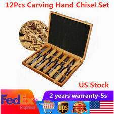 12 Pcs Wood Carving Hand Chisel Woodworking Professional Lathe Gouges Tools Set