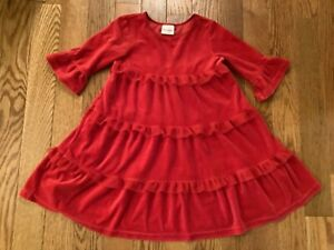 HANNA ANDERSSON Girls 120 or 6/7 Red 3/4 Sleeve Tiered Twirl Dress w/ Mesh Trim