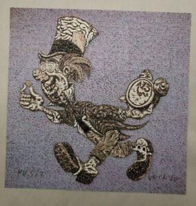"Mark Dean Veca ""Mad Hatter"" Blotter Art signed p/p printers proof #5/7"