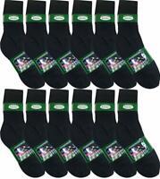 12 Pairs Men's Knocker Athletic Sports Cotton Black Crew Socks 10-13 1 Dozen Lot