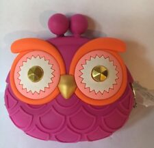 Bath And Body Works Rubber Pink Owl Change Purse Wallet Holder W Gold Eyes