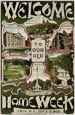 Welcome to Old Home Week Sept. 6-9, 1908 in Troy NY Postcard