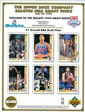 1992 Washington Bullets Draft Night Souvenir Sheet Upper Deck  Only 7,000 Made