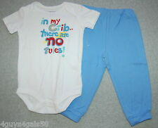 Toddler White Snap Crotch Tee Blue Pants IN MY CRIB THERE ARE NO RULES 18 Month