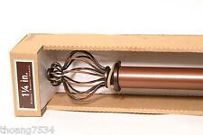 """Metal Drapery Curtain Rod Set Basket Cage BURNISHED COPPER adjustable 36""""-72"""""""