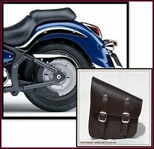 Borsa laterale di pelle marrone { per Harley softail fatboy intruder VN shadow