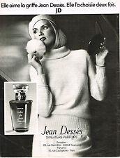 PUBLICITE  1977   JEAN DESSES   sweaters parfums