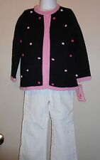 Nannette Girl Toddler Three (3) Piece Sweater Outfit Black 4T NWT