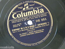 "78rpm 3x12"" schubert SYMPHONY 8 UNFINISHED , dx 551-3 HENRY WOOD LSO"