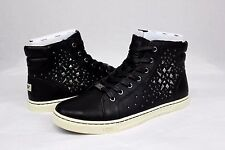 UGG GRADIE DECO STUDS LEATHER BLACK HIGH TOP SNEAKERS SIZE 9 US