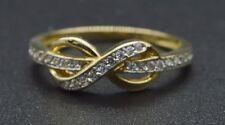 RM18 Created Round Diamond Infinity Ring Size 6 14K Yellow Gold