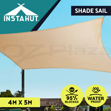 Instahut Waterproof Shade Sail Cloth Shadecloth Rectangle Sand Sun Canopy 4x5m
