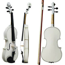 New Acoustic Violin 4/4 Full Size White Color with Case Bow Rosin