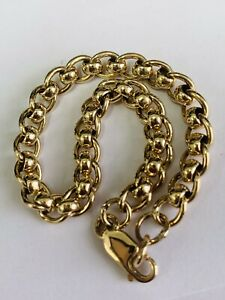 9CT YELLOW GOLD SOLID ROLLER BALL BRACELET 8 INCHES
