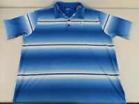ADIDAS GOLF ClimaLite TPC SAWGRASS Blue White Striped Polo Shirt Men's Size XXL