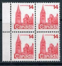 CANADA 1978 14 C Rouge, bloc de 4. Non marqué erreur et lumière dans fenêtre Variété Neuf sans charnière