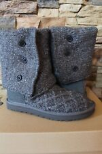 NEW UGG LATTICE Cardy Sweater Boots CHARCOAL GRAY US 6 9