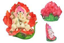 INDIAN HINDU GOD GANESH STATUE MURTI ON FLOWER JASWANTI GANESH