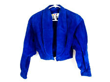 3 pc VTG Wilsons Leather Blue Sz 10 Skirt & Shorts, and Sz S Cropped Jacket