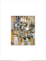 PABLO PICASSO CAFE ABSTRACT LANDSCAPE BIG BORDERS LIMITED EDITION PRINT 18X24