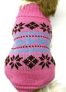 Dog Puppy Knitted Sweater Winter Warm - Pink Blue - For Small Breeds - S M L XL