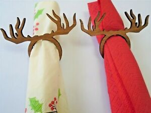 Reindeer stag Napkin Serviette rings set of 6 Christmas table decorations wood