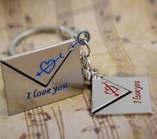 1 pair Wedding Mail Lover Cute Key Buckle Alloy Metal Ring Chain Motor Keychain