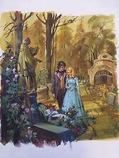 Originalzeichnung Titelbild Romanheft OLIVIA  Handzeichnung 1978 Bastei Friedhof