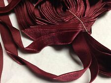 "5 Yards 3/4"" Burgundy HANK FRENCH Vintage Silk Rayon Satin Back Velvet Ribbon"