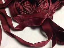 "10 Yards 3/4"" Burgundy HANK FRENCH Vintage Silk Rayon Satin Back Velvet Ribbon"