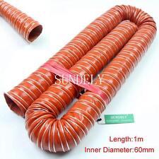Orange 60mm Silicone Air Ducting Brake Cold Induction Intake Pipe Hose 1m 1-Pcs