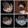 KE_ Elegant Women Rhinestone Inlaid Flower Hair Comb Hairpin Headwear Accessor