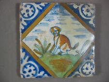 Polychrome Antique Dutch animal dog tile palmette 17th - free shipping